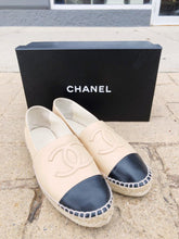Load image into Gallery viewer, Chanel Beige/Black Lambskin Espadrilles SIZE 37