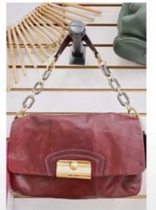 Coach Purple Leather Chain Strap Shoulder Bag
