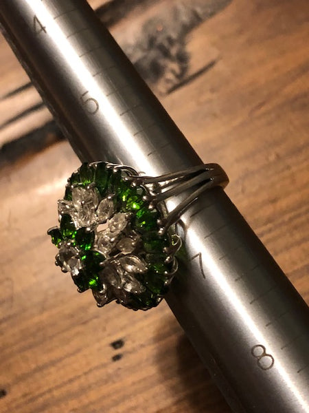 800 Russian Souls, 800 Different Powers, Ring, Sz 6, Russian Diopside, Platinum Over Sterling
