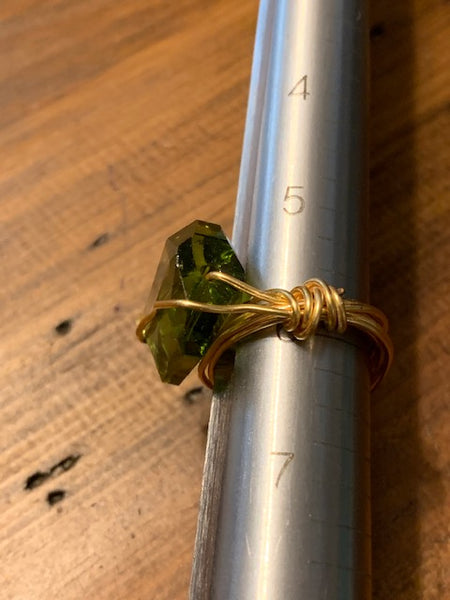 Size 6 Bronzy Wire Wrap Costume Ring w/Green Stone:  Wealth of the Druid's Apprentice