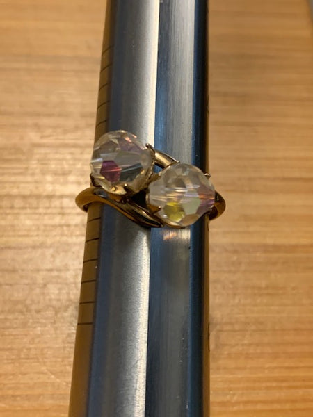 Size 5 Bronze-tone Costume Ring w/Two Clear Stones:  One for the Future One for the Past