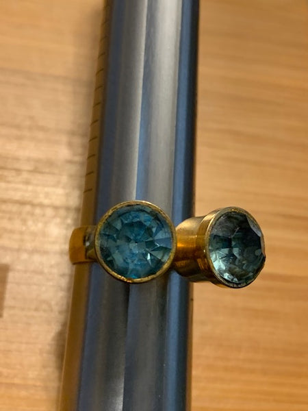 Bronze-toned Costume Ring w/Two Blue Stones:  Gypsy Gemini Ring