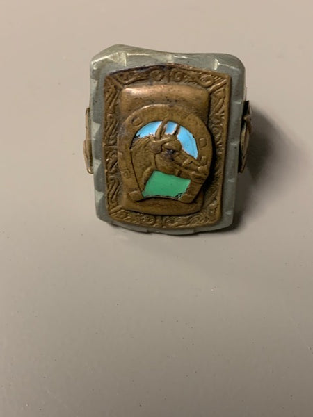 Heavy Metal Antique Ring w/ Horse, Horseshoe, and Hermes:  The Triple Crown Society