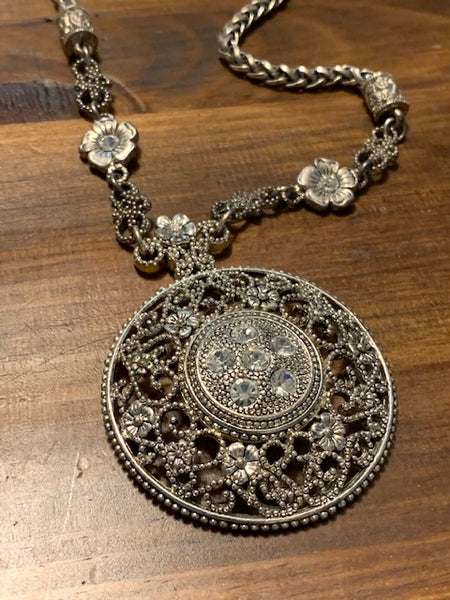 Silvery Costume Necklace with Floral Designs and Accents:  Under the Angelic Shield