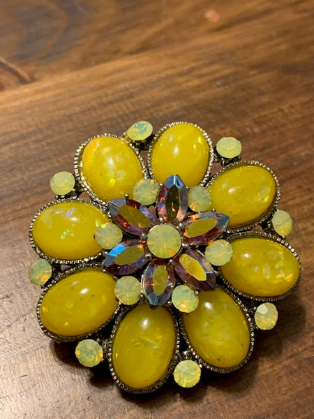 2-in-1 Costume Pin and Hair Clip, Yellow Stones:  Oshun's Prize
