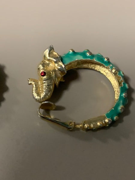 Mint Condition  Vintage Green and Costume Elephant Earrings and Red Rhinestones:  Hindu Wealth-ephants