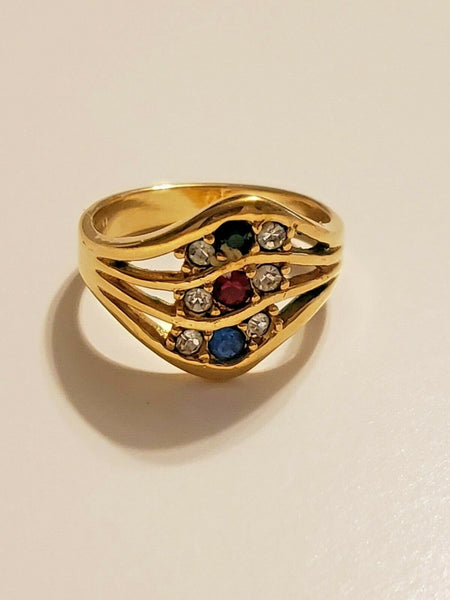 Size 8 Gold-tone Ring with Red, Blue, Gree, and Clear Stones:  Powerful White Light Angelic Summoner