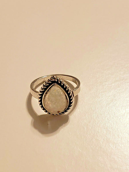 Size 5 1/2 Silver-tone Ring with Milky/Pearlescent Tear Drop Stone:  Seed of Angels From the Cave of Treasures
