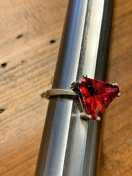 Size 7 Sterling Ring with Red Dyed Quartz:  The Art and Magic of Michelangelo
