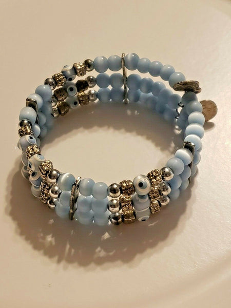 Triple Evil Eye Bracelet with Blue Beads:  Voodoo All-Purpose White Light Protection