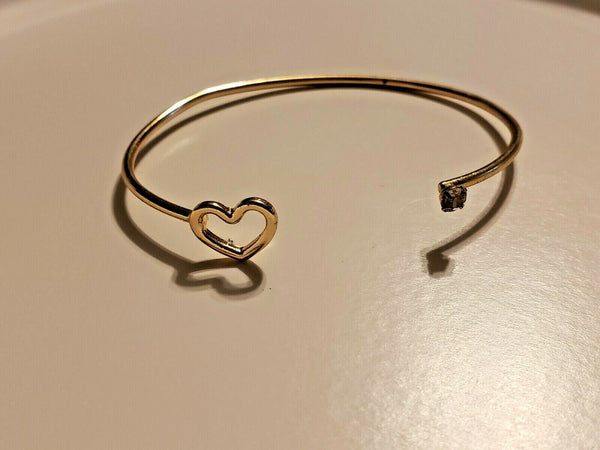 Gold-toned Bangle Bracelet with Heart and Stone:  Heartbeat Love Magic