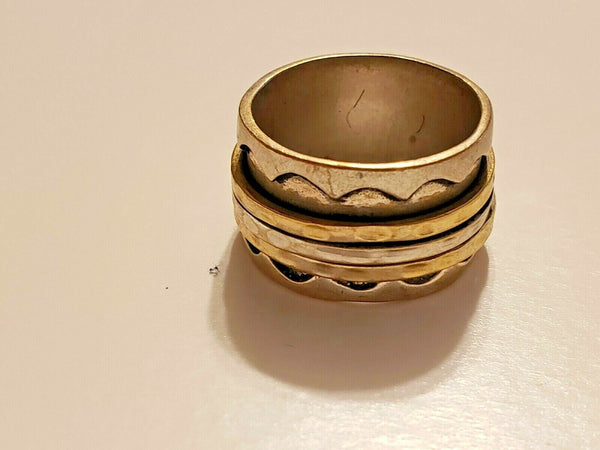 Silver-toned Costume Ring with Three Spinners:  Shamash, the Enlightening One
