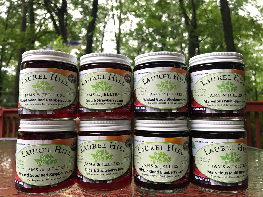 Gift Pack of the Most Popular 4 Fruit Jams - 2 jars per flavor