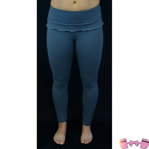 FFAB Ruffle Gray Spandex Leggings Bottoms- FitForABelle.com