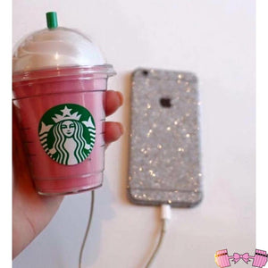 Cute Adorable Pink Starbucks Frapp Portable Phone Charger Power Bank