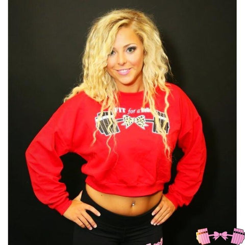 Red Cropped Leopard Barbell Pullover Tops- FitForABelle.com