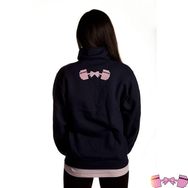 Navy FFAB Barbell Bow Pink Logo Half ZIP Pullover - Fit For A Belle
