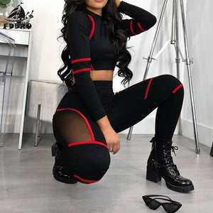 Sport Suit Red Stripped Mesh High High Waist Bodycon Women Casual Tracksuit