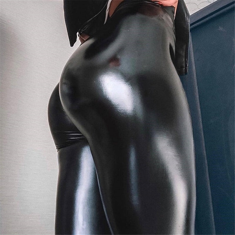 Push Up Black Leather Booty Support For Fall | Women's Thickened High Waist Slim Leggings