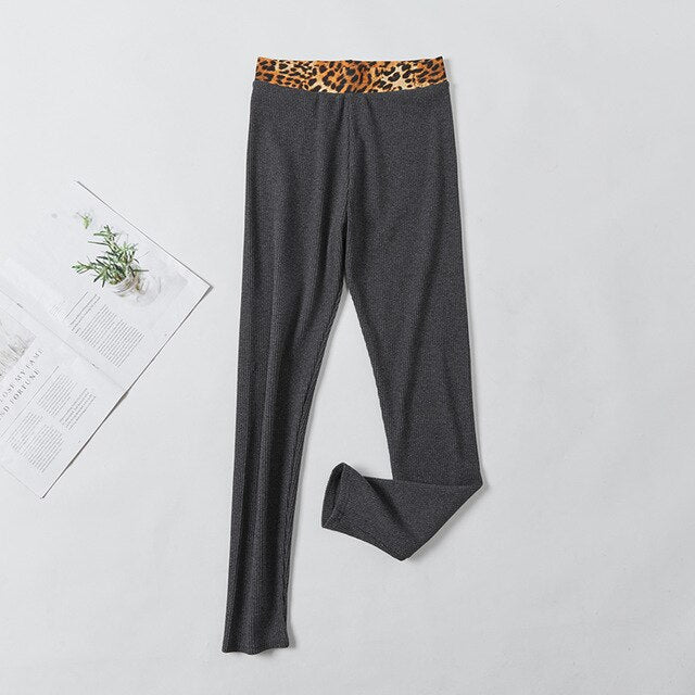Gray/Black Cotton Leopard Pants For Women leggings