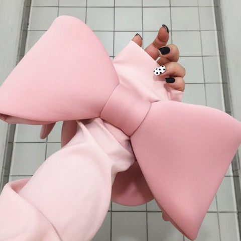 Color Spliced Bow Handbag Statement Clutch