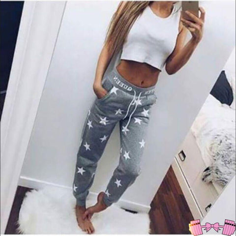 👑 Queen Printed Star Casual Sweatpants Activewear Bottoms- FitForABelle.com