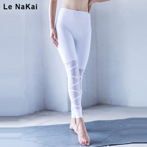 Le NaKai Mesh Patchwork Cross Yoga Pants Women Thick Solid Fitness Sport Leggings High Stretchy Running Tights Gym Trousers - FitForABelle.com