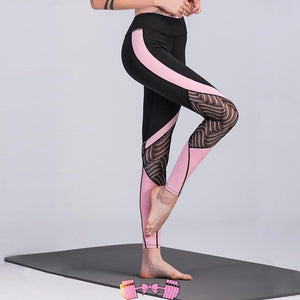 Pink and Black Patchwork Lace Design Workout Leggings Activewear Bottoms- FitForABelle.com