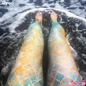 Mermaid Goddess 3D Scale Fitness Fashion Leggings - Fit For A Belle