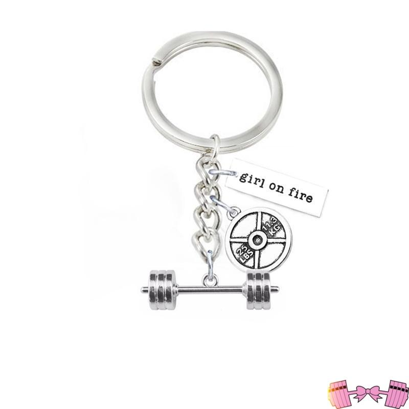 Barbell Girl On Fire Pendant Keychain Accessories- FitForABelle.com