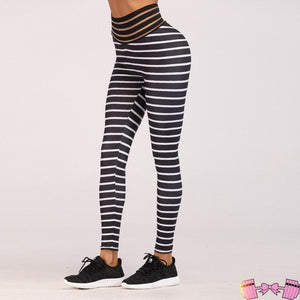 Peachy Rose Stripped High Waisted Fitness Fashion Leggings activewear- FitForABelle.com
