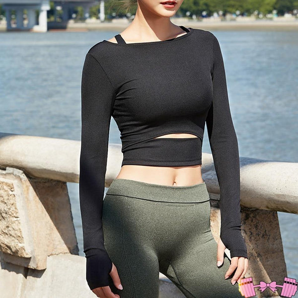 Long Sleeve Workout Tops & Shirts activewear- FitForABelle.com