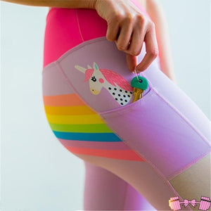 Ombre Gradient Fun Rainbow Unicorn Leggings For Women. Keep a magical unicorn in your pocket for good luck as you crush your workout!