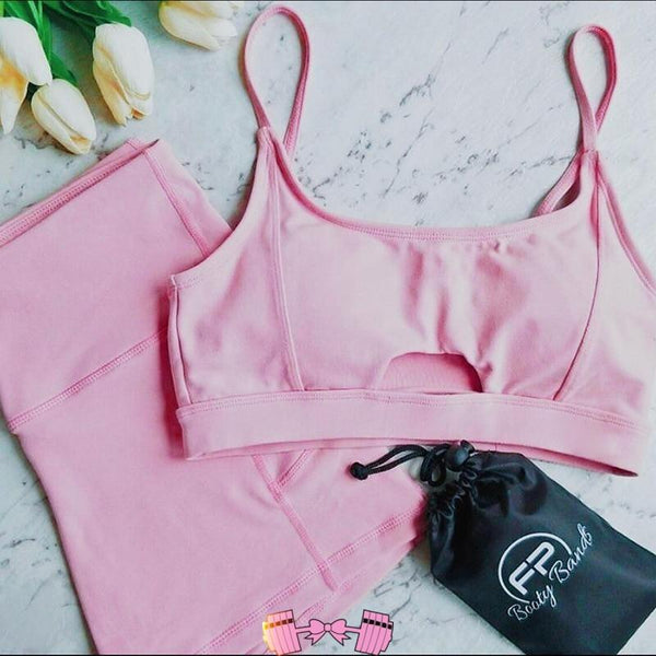 Pink Workout Outfit Matching Set activewear- FitForABelle.com