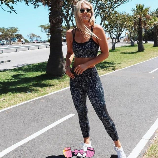 Dot Grenadine Patchwork Sleeveless Yoga Women Sport Suit Legging Top Fitness Tights Body-building Yoga Set Sports Train Apparel activewear- FitForABelle.com