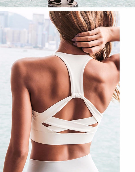 2018 New Style White Strap Push Up Sports Bra for Women Gym Running yoga top Bra Athletic Vest Hollow out Sportswear Underwear - FitForABelle.com