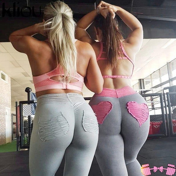 Pink Heart Pattern Pink and Gray Workout Clothes For Women leggings- FitForABelle.com