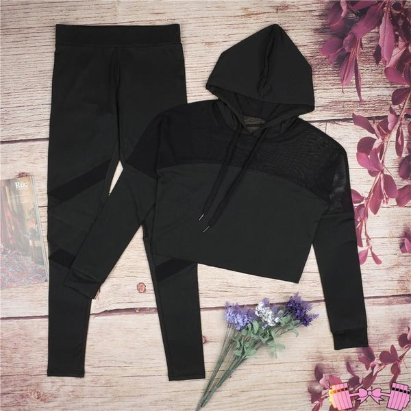Activewear Outfits Sporty Chic Mesh Hoodies | Workout Leggings activewear- FitForABelle.com