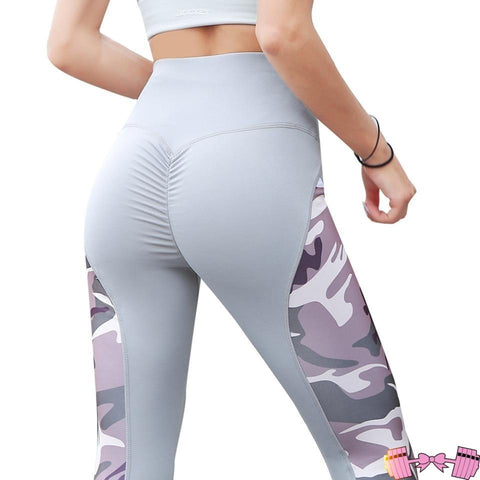 Gray/Purple Camouflage Push Up Leggings - Fit For A Belle