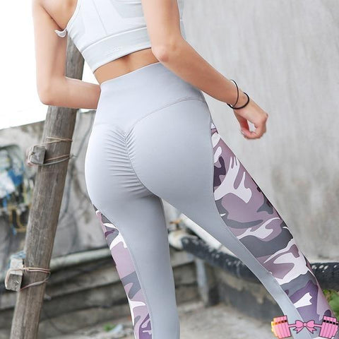 Gray/Purple Camouflage Push Up Leggings activewear- FitForABelle.com