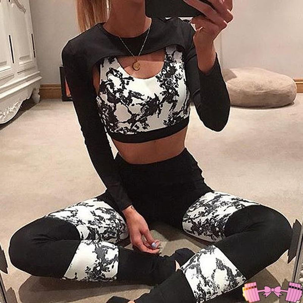Black and White Beautiful Fitness Fashion Workout Outfit activewear- FitForABelle.com