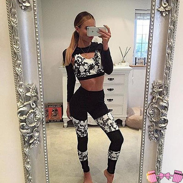 Black and White Beautiful Fitness Fashion Workout Outfit - Fit For A Belle