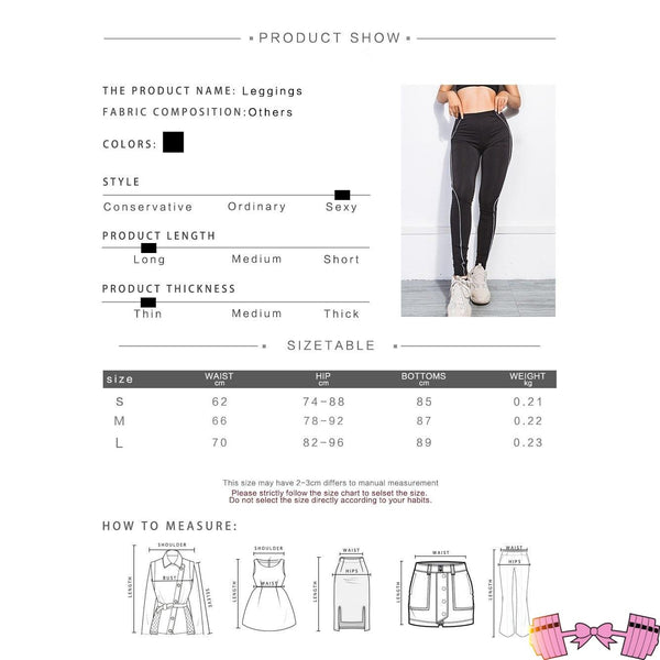 Reflective Stripe Activewear High Waist Fitness Leggings activewear- FitForABelle.com
