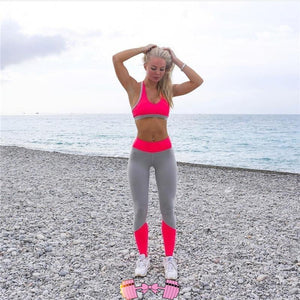 Neon and Gray Workout Leggings activewear- FitForABelle.com