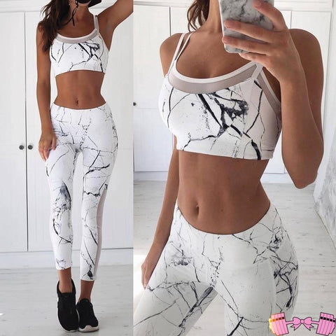 White Marble 2 Piece Workout Outfit - Fit For A Belle