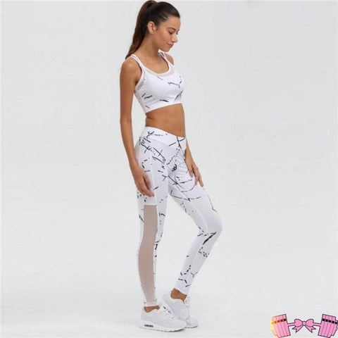 White Marble 2 Piece Workout Outfit activewear- FitForABelle.com