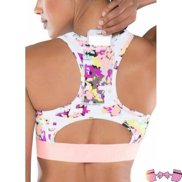 Woman's Sports Bra With Cell Phone Pocket Activewear- FitForABelle.com