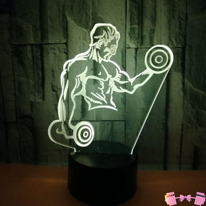 Dumbbell Fitness  Table Lamps- Led Visual Gift 3 Accessories- FitForABelle.com