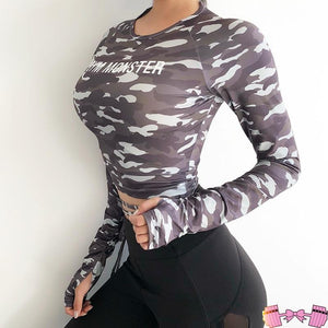 Long Sleeve Crop Top Camouflage activewear- FitForABelle.com