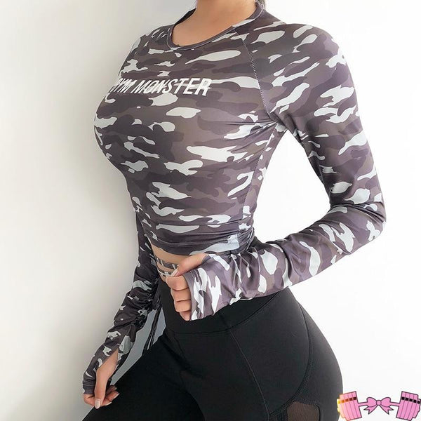 Long Sleeve Crop Top Camouflage